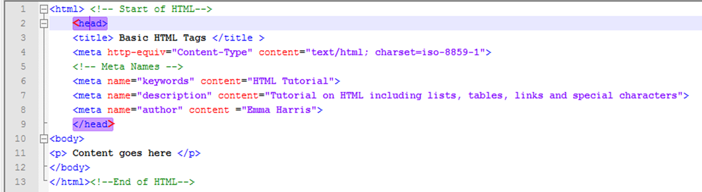 Basic html tags list with examples.